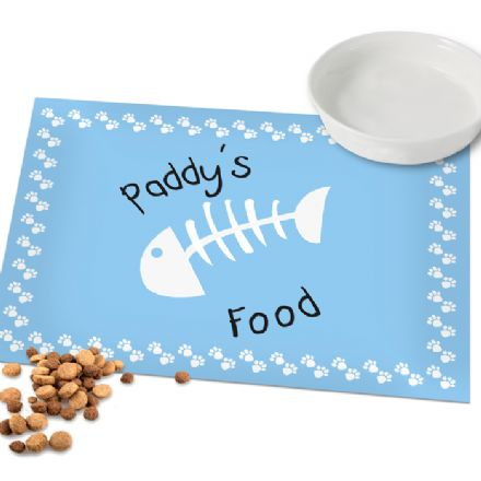 Personalised Cat Placemat - Blue Paw Print